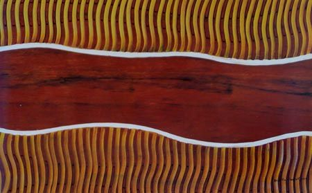 Rosella Namok  River Mouth  2012  Synthetic Polymer Paint on Belgian Linen  89 x 57 cm  $3,000 AUD