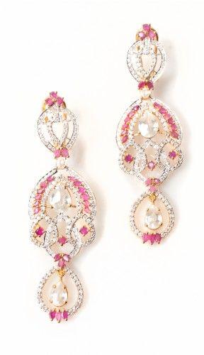 22k Goldplated Sterling Silver Diamond-look Ruby and CZ long Earrings - Arabic Jewelry - Artisan Earrings at Artizara.com