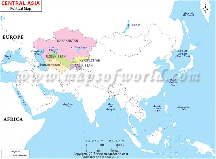 Map shows the geographical location and international boundaries of central Asia nations