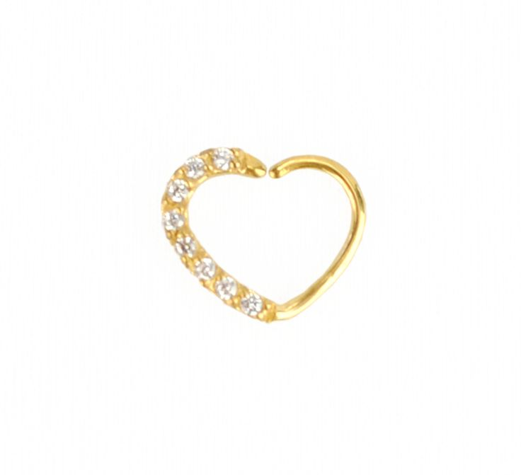 24K GOLD PVD JEWELLED HEART RING - RIGHT EAR