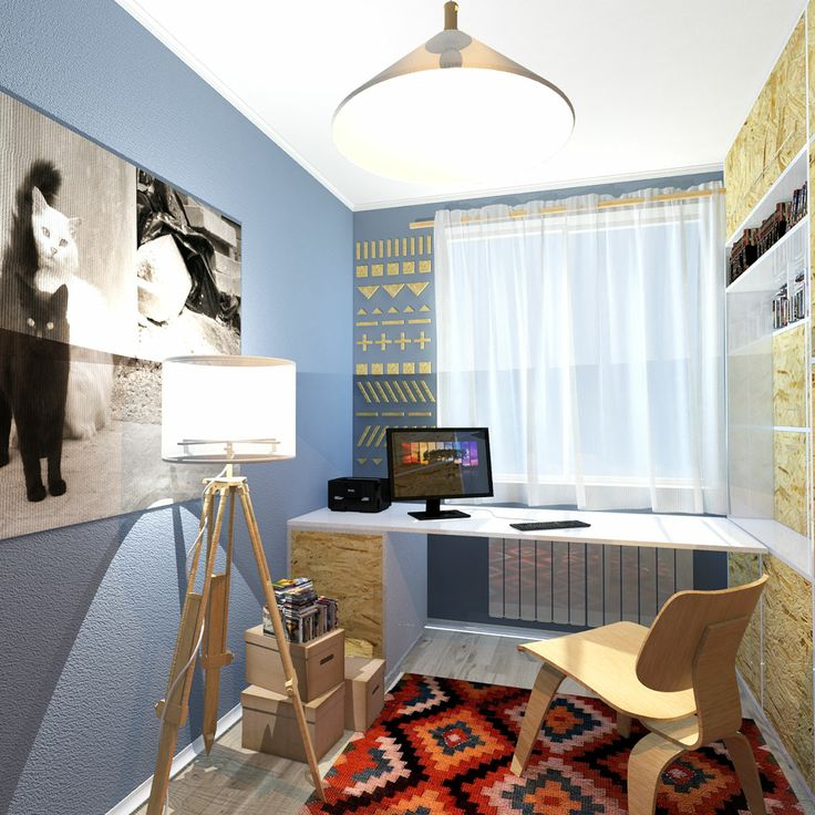 Blue interior with OSB furniture