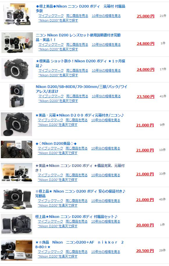 【Nikon】ニコン デジタル一眼レフカメラ D200 相場