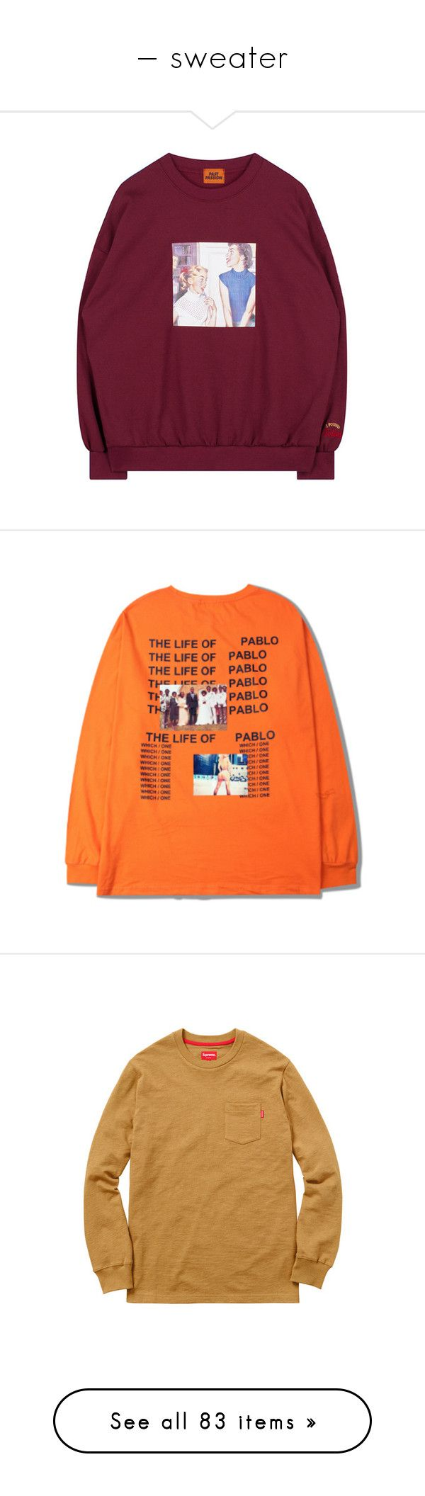 """— sweater"" by dean-official ❤ liked on Polyvore featuring tops, t-shirts, jumper, shirts, sweaters, orange top, orange t shirt, t shirt, long sleeve shirts and long sleeve tees"