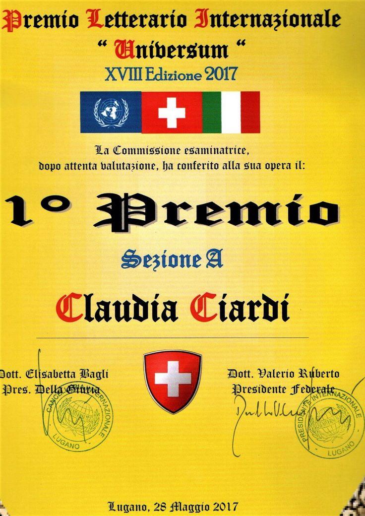Premio letterario Internazionale - Universum Academy #Switzerland -  organizzazione culturale riconosciuta presso l'Onu #Lugano #Abruzzo maggio 2017