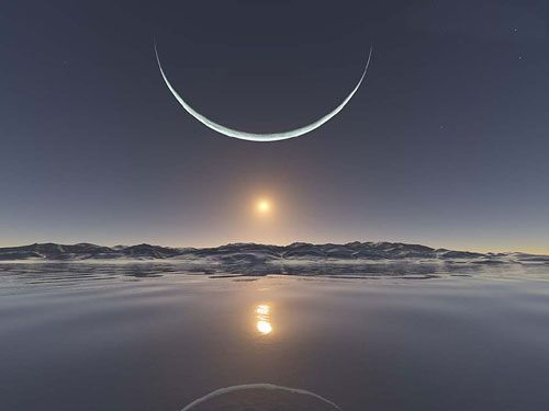 Photographed during the week of May 11, 2009 - North Pole Moon - This is the sunset at the North Pole with the moon at its closest point last week.  A scene you will probably never get to see in person, so take a moment and enjoy natures work at the North Pole.