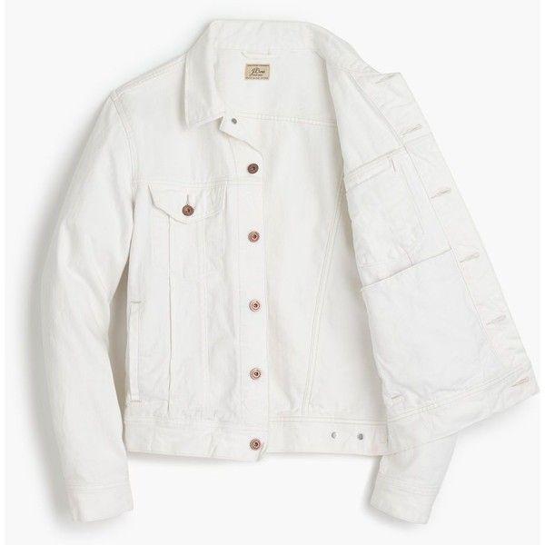 J.Crew Denim jacket in white ($118) ❤ liked on Polyvore featuring men's fashion, men's clothing, men's outerwear, men's jackets, mens white jacket, mens white jean jacket, j crew mens jackets and mens white denim jacket