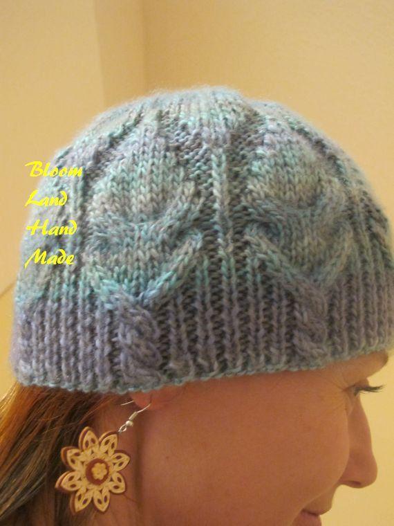 Blue Beanie, Sport hat, Hand Knit Wool Hat by BloomLand Handmade Mens hat Teens beanie Adult warm hat cable knit by BloomLandHandMade on Etsy