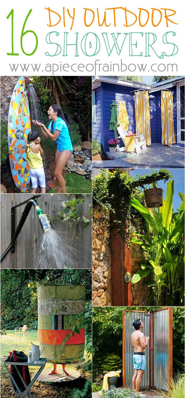 Ultimate collection of the BEST DIY outdoor shower ideas! Tons of inspirations and so much fun!!!  via  A Piece Of Rainbow