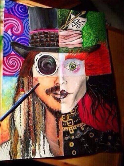 The many faces of Johnny Depp ~ Jack Sparrow, Willy Wonka, Edward Scissorhands and the Mad Hatter in one painting. Cool! :)