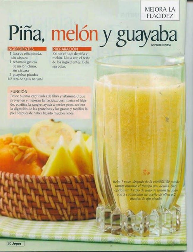 Delicioso jugo de piña, melón y guayaba para perder peso y combatir la flacidez en todo el cuerpo. #infografia #jugosverdes #salud