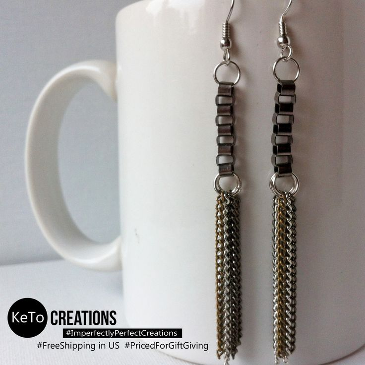 """Sleek Elegance"" by KeTo Creations #HandCrafted #Earrings #Hearts #GiftsForHer #ImperfectlyPerfectCreations #FreeShipping in the US #PricedForGiftGiving #JustOpenedOurStore #ShopLikeWeHave5StarRating #WeShipASAP #PinNowViewLater"