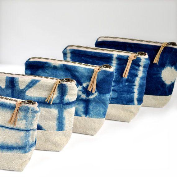 Shibori indigo linen pouch geometric pattern by GrayGreenGoods