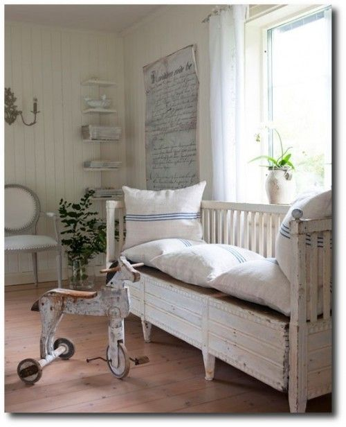 Scandinavian Style Kids Room: Childrens Room With Swedish Bench Keywords:French Kids