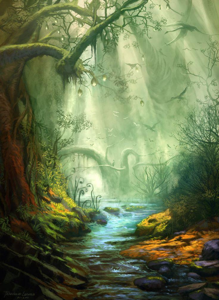 фэнтези лес рисунок