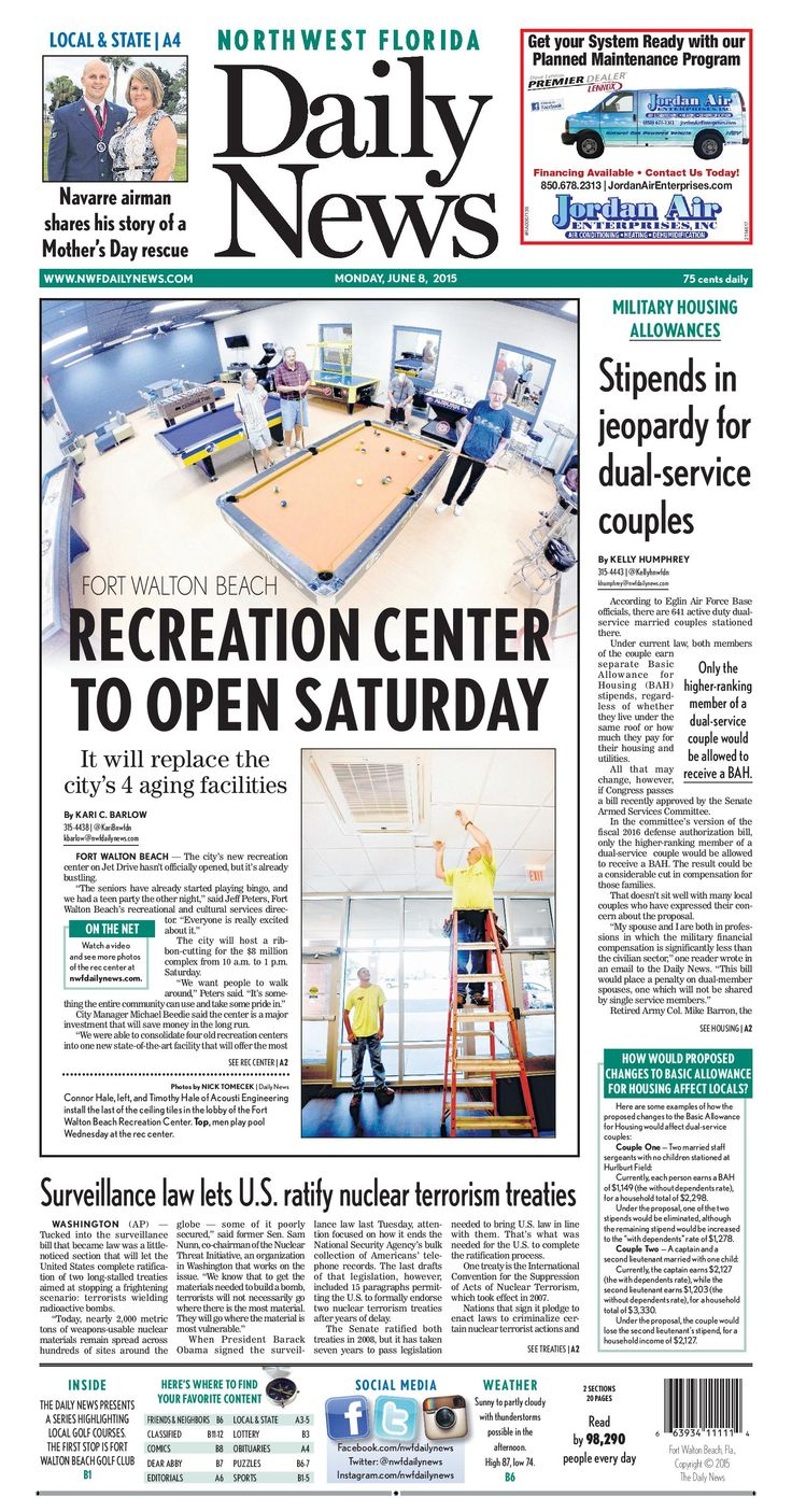 """The June 8, 2015, front page of the Northwest Florida Daily News: """"Fort Walton Beach Recreation Center to open Saturday"""""""