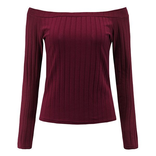Yoins Burgundy Sexy Off-shoulder Ribbed Body-con Top ($12) ❤ liked on Polyvore featuring tops, burgundy, flat top, long sleeve tops, sexy tops, bodycon tops and purple off shoulder top