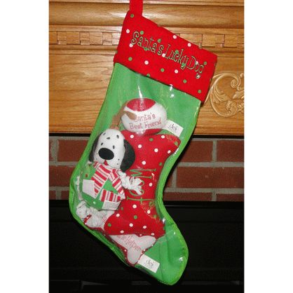 Filled personalized dog christmas stocking personalized for Personalized dog christmas stocking