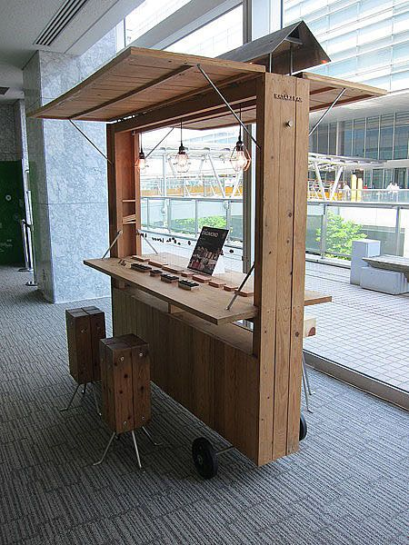 Imagine how many of these narrow kiosks could fit on a truck! Easily transported!