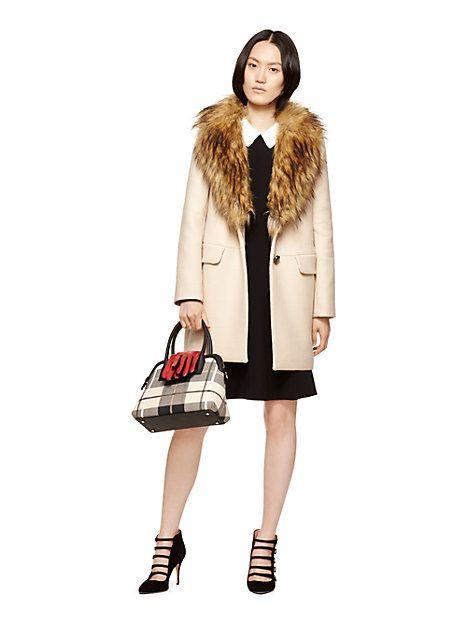 faux fur collar coat from @katespade