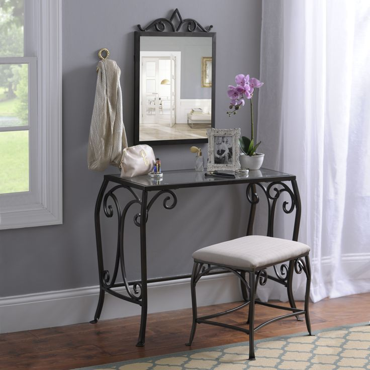 An Elegant Design, Fit For A Queen. This Three Piece Vanity Set Is Made