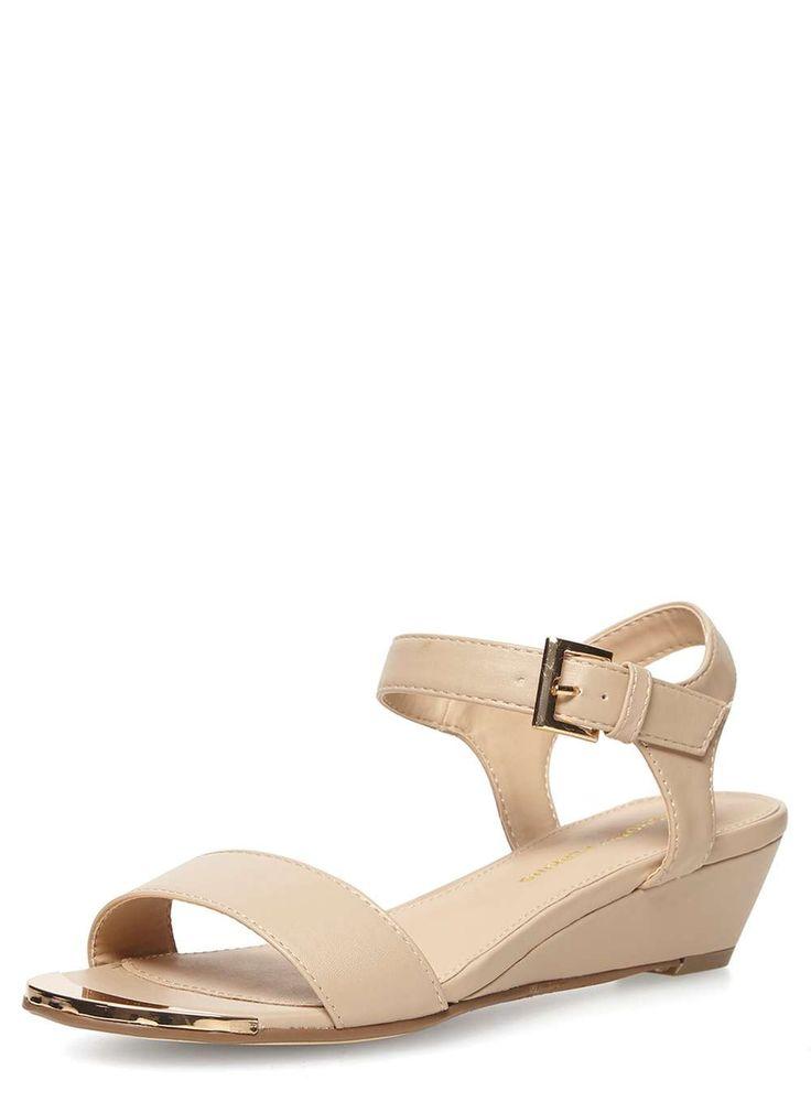 Nude low wedge sandals