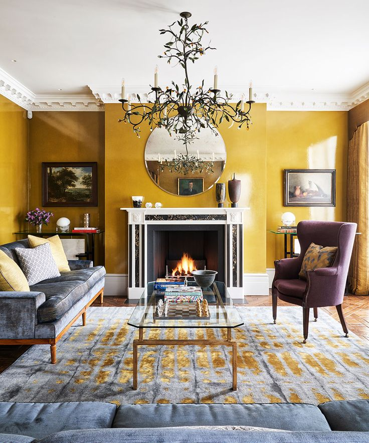 Living Room Decor With Lacquered Yellow Walls To Reflect