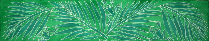 Palm Fronds Oblong Silk Scarf From RaRa & The Women Artists of Matènwa, Haiti - Store located in Wellfleet, MA or order online.