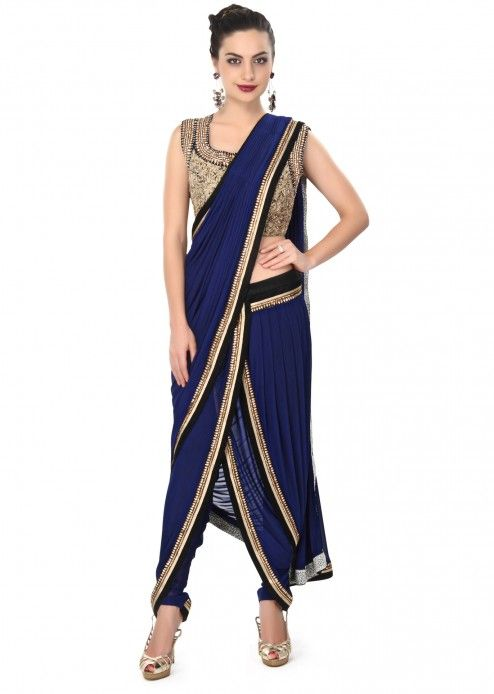 Navy blue dhoti saree gown matched in embroidered blouse only on Kalki