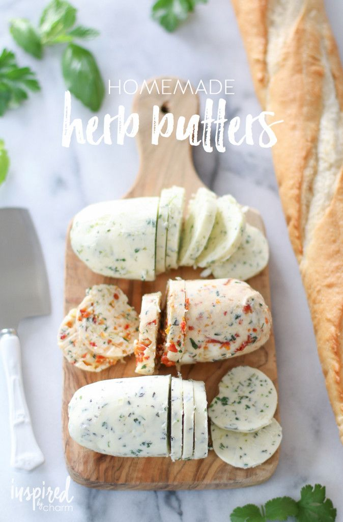 Homemade Herb Butters - delicious for so many purposes in the kitchen. However, my favorite is just smearing it on crusty bread. Yum!