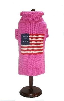 """Pets will show their patriotic spirit in this classy and classic dog flag sweater in Pink with a mock turtleneck. They are 100% acrylic and come in sizes 6""""-16"""" in length. Machine washable and dry abl"""