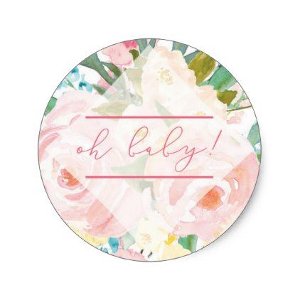 Spring Floral Baby Shower Pink Accents Classic Round Sticker - baby shower ideas party babies newborn gifts