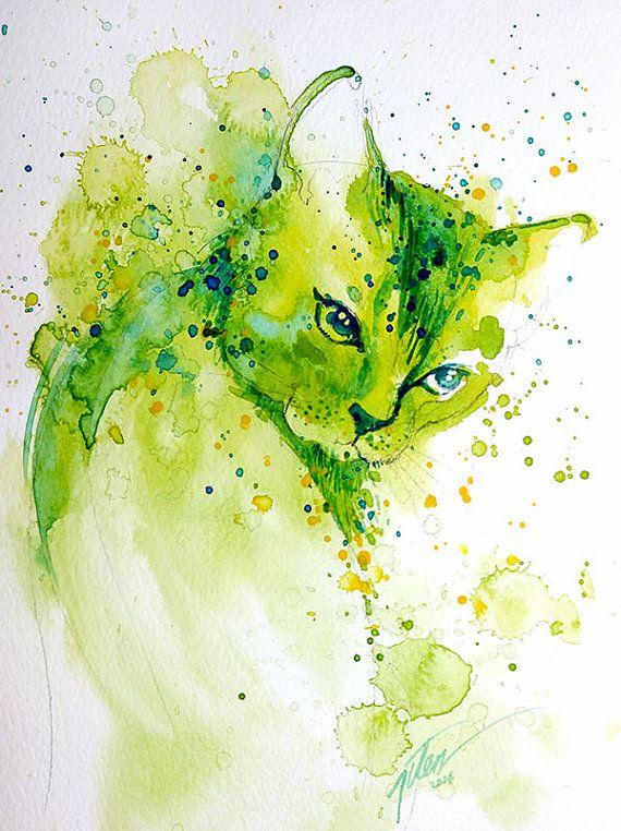 Groene kat aquarel A4 kunst 8.3 x 117 inch afdrukken