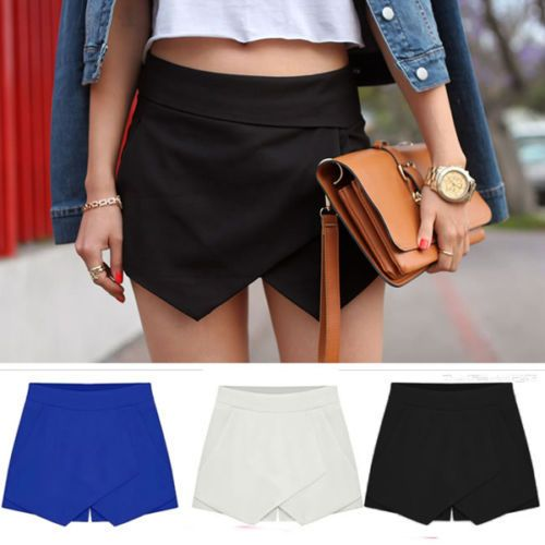 2014 mujeres del verano negro blanco asimétrica forma geométrica Irregular Shorts cremallera Invisible Skorts Wrap Mini faldas pantalones cortos