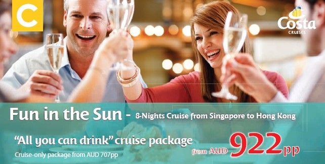 """Costa Fun in the Sun """"All You Can Drink"""" Cruise Package from AUD $922pp"""