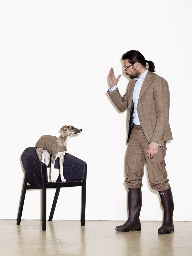 Milo Keller for Wogg 2009- dressed like a chair- man with dog