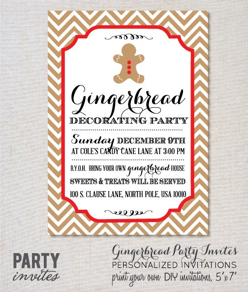 Gingerbread decorating party invitation christmas by Gingerbread house decorating party invitations