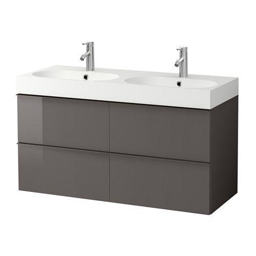 GODMORGON / BRÅVIKEN Armario lavabo 4cajones, alto brillo gris alto brillo gris 120x49x68 cm