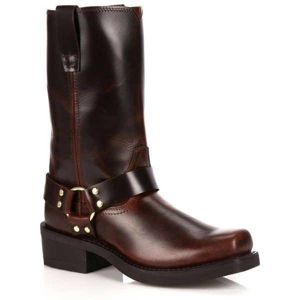 Durango Men's Harness Boots ($155) ❤ liked on Polyvore featuring men's fashion, men's shoes, men's boots, brown, mens brown leather boots, men's pull on work boots, mens slip on boots, mens harness boots and mens square toe shoes