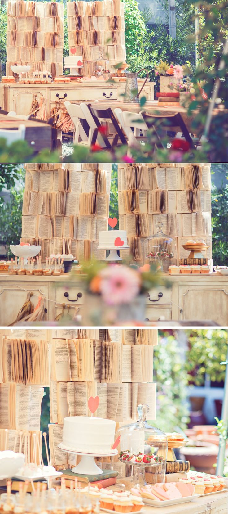 Vintage Book Backdrop :: Book Themed Baby Shower via @HostessTori
