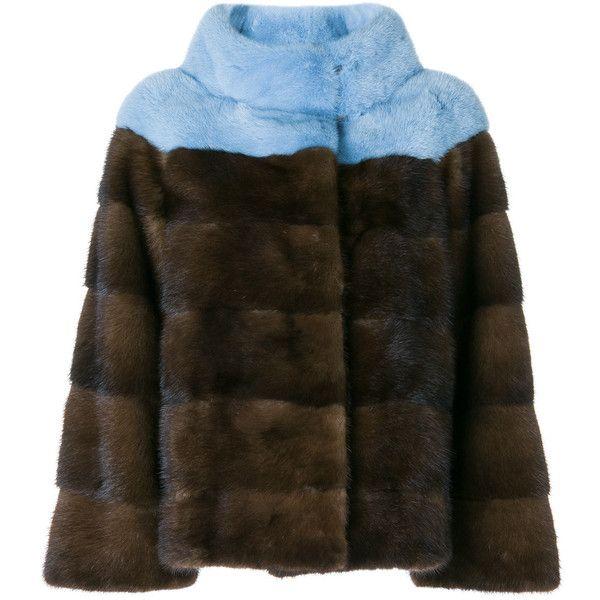 Liska fur detail coat ($5,146) ❤ liked on Polyvore featuring outerwear, coats, multicolour, brown mink fur coat, fur-trimmed coats, multi colored coat, mink coat and liska