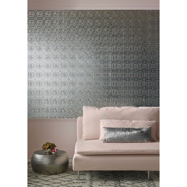 Graham & Brown Metallic Grey Ceiling Tiled Wallpaper ($71) ❤ liked on Polyvore featuring home, home decor, wallpaper, grey metallic wallpaper, gray metallic wallpaper, gray wallpaper, graham brown wallpaper and metallic home decor