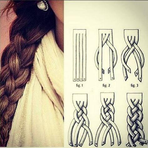 Peinado 1-trenza de 4 cabos