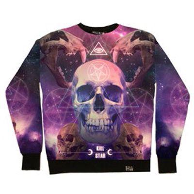 Ancient Schedel Galaxy sweatshirt trui unisex paars - Occult Glamrock http://www.attitudeholland.nl/haar/kleding/truien-vesten/truien/ancient-schedel-galaxy-sweatshirt-trui-unisex-paars-occult-gla/