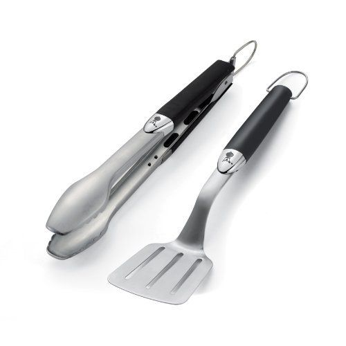 Weber 6645 Original Portable 2-Piece Stainless Steel Tool Set by Weber. Save 12 Off!. $19.35. Tongs have locking handle for storage. Soft touch handles are comfortable. Necessary bbq accessories. Compact design for away from home. Spatula has angled neck reaches over edge of grill. Add the proper utensils to your new grill with Weber utensils. A good barbecue tongs and spatula are necessary for grilling. Unique front end soft touch handle offers comfortable, non-slip grip. Tong handle…