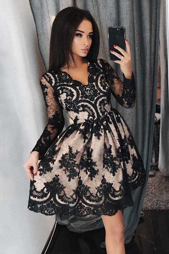 7f6d4eb16d Gorgeous A Line V Neck Open Back Long Sleeves Black Lace Short Prom Dresses  with Beading