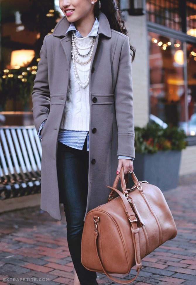 Casual winter outfit - sweater layering, pearl necklace, J.Crew coat + Sole Society weekender travel bag