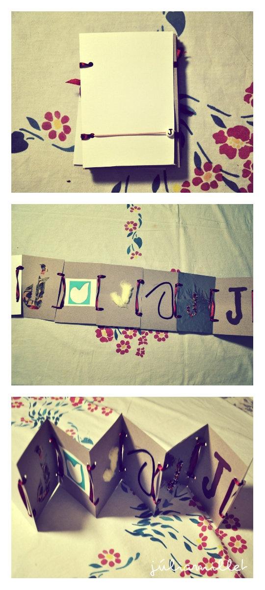 Libro plegable del diseño de la letra J con diferentes materiales