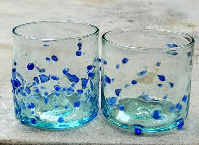 Bercak Biru 8cm height. Cheer your day with our Bercak Biru recycled glass, with blown glasses technique.