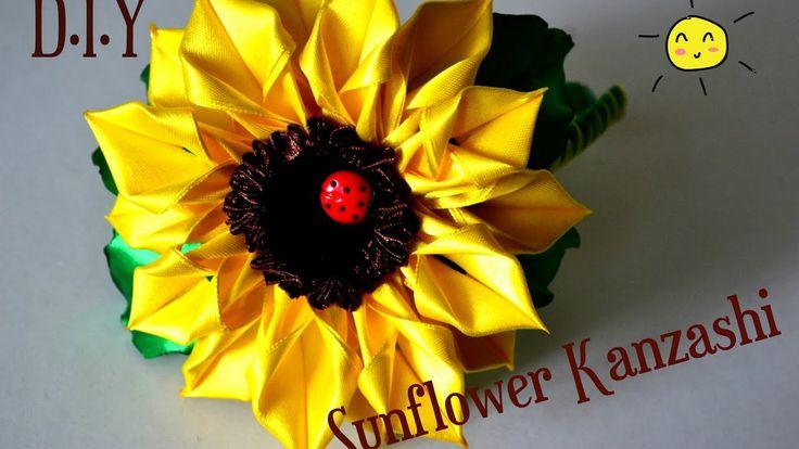 Sunflower Kanzashi/Подсолнух на ободке/D.IY