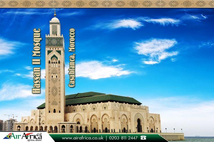 Hassan II #Mosque, Casablanca, #Morocco:  The Hassan II Mosque or Grande Mosquée Hassan II is a mosque in #Casablanca, Morocco.     Source: https://en.wikipedia.org/wiki/Hassan_II_Mosque     #HassanIIMosque #TallestMosque #LagestMosque #MosqueinMorocco #MosqueinAfrica #AirAfrica #FlightstoAfrica #AfricanTravelagents     Book with us for more #savings on #flights: http://www.airafrica.co.uk/